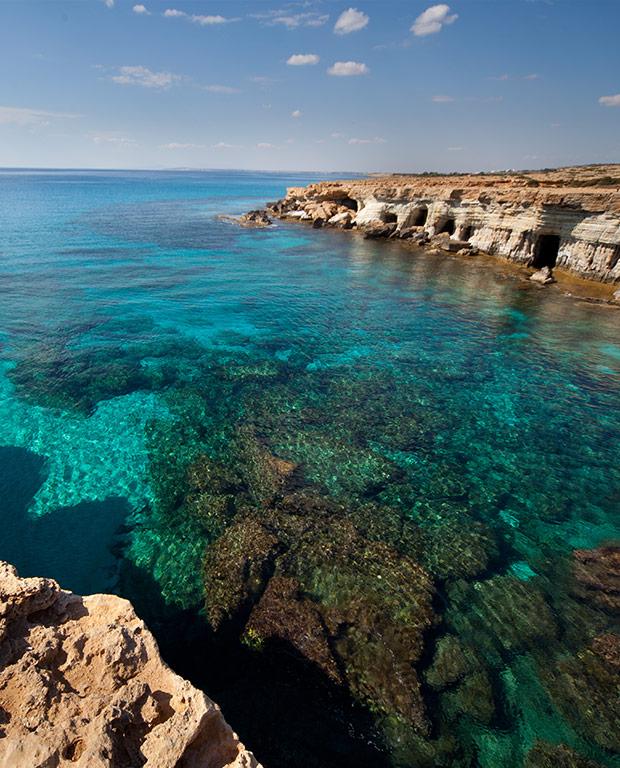 cape greco blue sea rocks