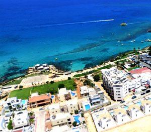 sea blue buildings coast ayia napa