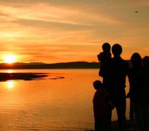 sunset family silhouette